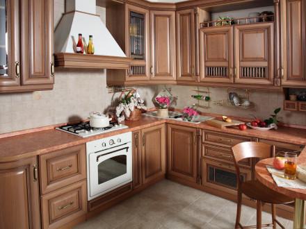 Кухня МДФ Орех кантри У-04
