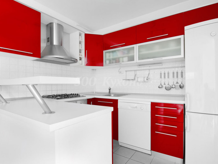 Кухня МДФ Красно-белая DW П-16