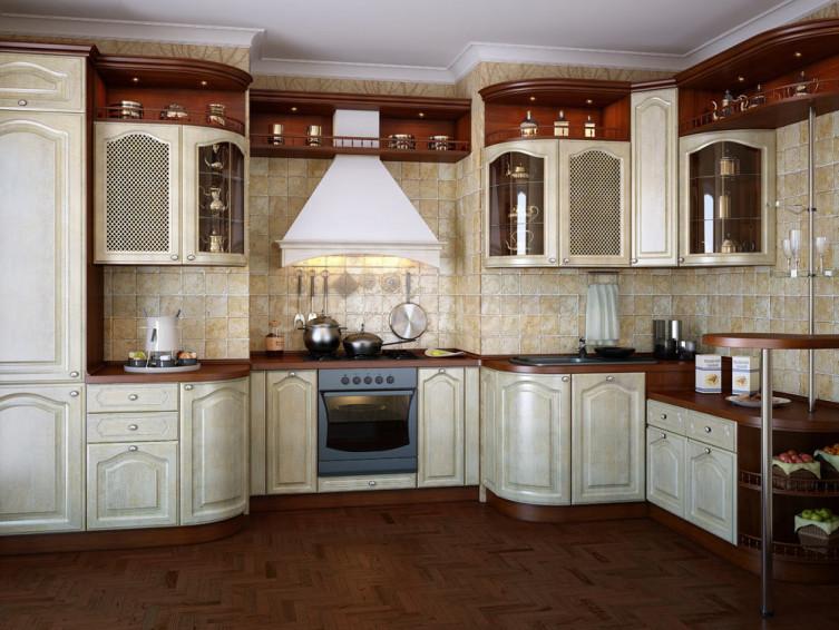 Кухня МДФ Золотое дерево У-37
