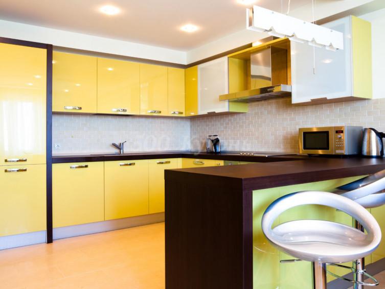 Кухня МДФ желтая SY П-13